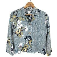 Citron Bamboo Classic Style Blouse Womens PS Petite Small Floral Long Sleeve Top