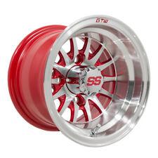 Set of 4 - GTW Medusa 10 inch Machined / Red Golf Cart Wheel 4/4 | 3:4 Offset