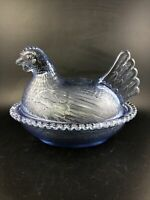Vintage Indiana Glass Corn Flower Blue Light Blue Hen On A Nest Chicken AS-IS