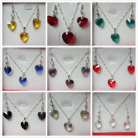 Birthstone 925 Silver Faceted Glass Heart Necklace & Earring Sets - Free Box