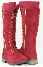 New Women Knee High Lace Up Faux Suede Combat Boots Riding Style With Sweater