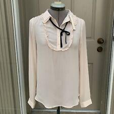 LAUREN CONRAD Sheer Long Sleeve Tie Front Bib Top Light Blush Size XS