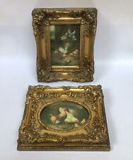 After Edgar Hunt 2 X Gilt Framed Paintings Of Barnyard Chickens Doves SMALL