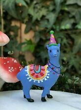 Miniature FAIRY GARDEN ~ Mini Purple Party Hat Llama Figurine ~ NEW