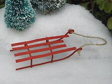 Miniature Dollhouse FAIRY GARDEN ~ Rustic Red Tin CHRISTMAS Sled ~ NEW