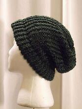 Handmade One Size Beanie Knitted Hat Dark Green