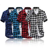 Mens Summer Casual  T Shirt Plaid Check Short Sleeve Shirt Tops Tee Buttons Down