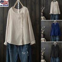 Women Long Sleeve Cottin Linen Blouse Tee Shirt Ladies Kaftan Baggy Tunic Tops