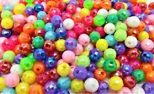 400 Faceted 6mm Acrylic Round AB Coated (shimmer) Beads Children Crafts J03831w