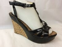 Marc Fisher Womens 6.5 M Black Stappy Ankle Strap Shoes Peep Toe Wedge High Heel