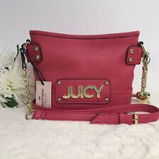 Juicy Couture Wild Card Crossbody Watermelon Pink Gold Chain Purse Bag New