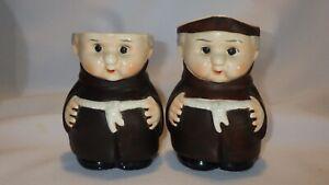 Vintage Friar Tuck Monk Sugar and Creamer Set