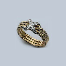 X Ring in White Gold with Yellow Gold Band - .14ct Diam