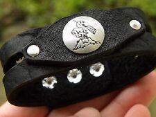 Leather Bracelet Native Indian Navajo sterling silver end of the trail horseback