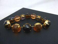 Pilgrim Jewelry Brown Earthtone Beaded Semi-Elastic Rhinestone Bracelet: A