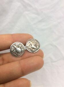 Very Nice Vtg Swank US Military Sterling Silver 925 Eagle Shield Cufflinks