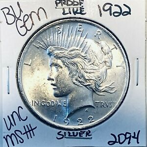 1922 P BU GEM PEACE SILVER DOLLAR UNC MS+ GENUINE U.S. MINT RARE COIN 2094