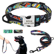 Nylon Personalized Dog Collar and Leash Pet Dog Puppy ID Name Engraved Collar