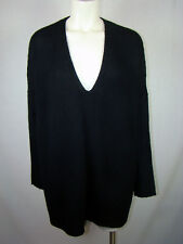 Vince Black Wool/Yak V-Neck Sweater NEW NWT Women's M Medium $425