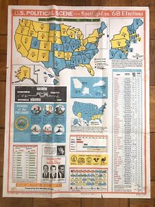 VINTAGE Poster USA 1968 Presidential Elections VINTAGE School Poster Map Poster