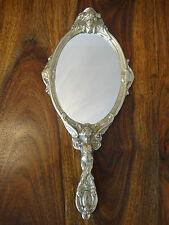 Handspiegel Barock Engel Kosmetik Spiegel Antik Schminkspiegel Messing Gold Edel