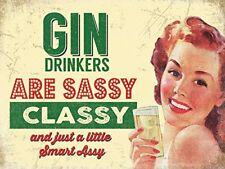 Novelty Vintage Style Metal Wall Sign Plaque Retro Gin Drinker Gift