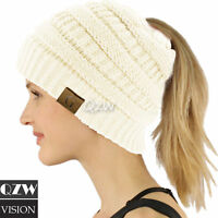 Women BeanieTail Messy High Bun Winter Warm Fleece Pony Tail Hat Knit Cap