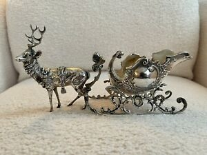 Antique German 800 Coin Silver Reindeer & Sleigh Christmas Ornament Rare Large!