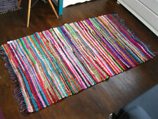 INDIAN RAG RUG Chindi MAT Fairtrade STRIPED SHABBY CHIC Recycled BOHO 90 x 150cm