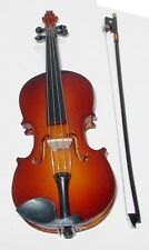 "Violin handmade collectible miniature replica 8"" w/bow, stand & black case"