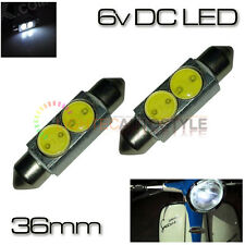 2x 36MM 6 VOLT DC XENON WHITE 2W LED SIDE / TAIL LIGHT SCOOTER FESTOON BULBS 6V