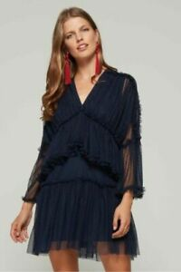 MOSSMAN | Womens Navy Wuthering Heights Dress RRP$229.95 [ Size AU 14 or US 10 ]