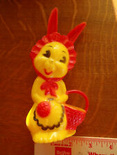 """Vintage 1961 Hard Plastic Easter Bunny With Basket 6 1/2"""" X 3 1/4"""" Nice Perfect"""