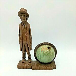Vintage Syroco Wood Business Man Globe Desktop Pen Holder Mid Century USA