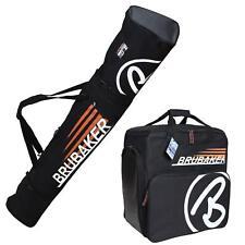 BRUBAKER Ski Bag Combo CHAMPION for Ski, Poles, Boots and Helmet - Black/Orange