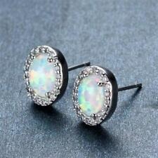 Halo Fire Opals Stud Earrings 14k White Gold Plated Silver & CZ Womens Tops