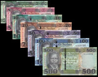 SOUTH SUDAN FULL SET 7 PCS 1-5-10-20-50-100-500 POUNDS 2011-2018 NEW UNC