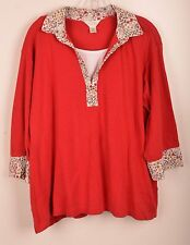 CJ Banks Womens Blouse Shirt Pullover Red Floral Plunge Mock Tee Sz 3X