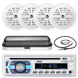 "4"" 100W Marine White Speakers, Pyle AUX SD USB Bluetooth Receiver,Cover, Antenna"