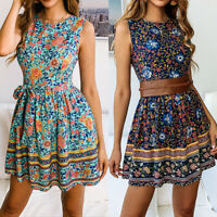 Fashion Women Summer Boho Short Maxi Dress Evening Party Cocktail Beach Sundress