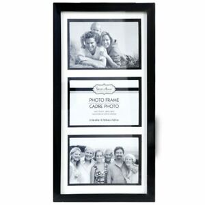 """4x6 Photo Black 3-Picture Collage Frame Glass Pane Landscape Wall Mount 15""""x8"""""""
