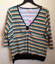 Women's ONE STEP UP  Green Black Yellow Shirt Top  Size 3X Nwt
