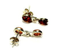 Bijou argent massif 925 boucles d'oreilles ambre cognac earrings