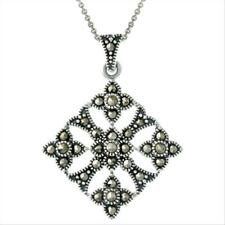 925 Silver & Marcasite Diamond Shaped Filigree Pendant