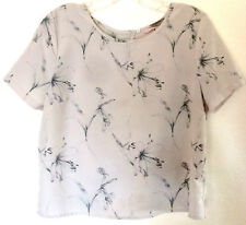 Forever21 Lt Taupe & GrayBlue FLORAL BLOUSE; Back, Knot Twist, Button/Snap Top M