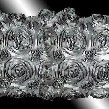 2 GREY 3D RAISED RIBBON ROSES TAFFETA CUSHION COVERS 16