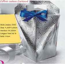 BOITE Cadeau Cartonné Argenté 9,5X9,5cm pour coffret AVON neuf (Vide)