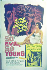 'So EVIL, So YOUNG' .**LINEN MOUNTED** BAD GIRLS * movie poster.J IRELAND**1962