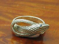 925 Sterling Silber Ring mit Spinell Besatz / Schlange / Echtsilber / 4,3g