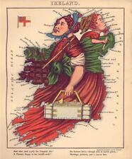 Fun Atlas Irlande vintage vieux antique irlandais couleur couleur carte nouvelle reproduction